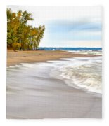 Autumn On The Beach Fleece Blanket