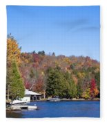 Autumn On The Fulton Chain Of Lakes In The Adirondacks V Fleece Blanket