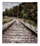 Autumn On The Railroad Tracks Fleece Blanket