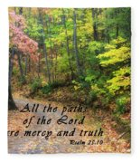 Autumn Path With Scripture Fleece Blanket