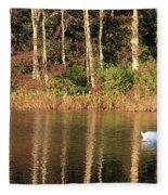 Autumn Pond Sunset With Swan Fleece Blanket