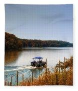 Autumn Pontoon Boating Argyle Lake Fleece Blanket