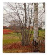 Autumn Red Field Maine  Fleece Blanket