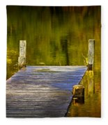 Autumn Reflections And Boat Dock On A Pond Near Yankee Springs Michigan Fleece Blanket