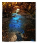 Autumn Reflections On The Tributary Fleece Blanket