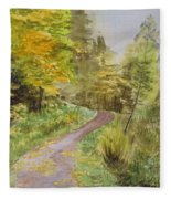 Autumn Riverside Walk Version1 Fleece Blanket