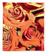 Autumn Roses On Your Wall Fleece Blanket