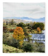Autumn Rural Scene Fleece Blanket