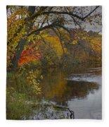 Autumn Scene Of The Flat River Fleece Blanket