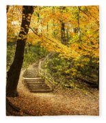 Autumn Stairs Fleece Blanket