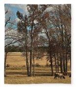Autumn Texas Pasture Fleece Blanket
