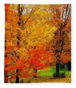Autumn Trees By Barn Fleece Blanket