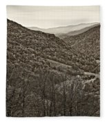 Autumn Valley Sepia Fleece Blanket