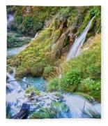 Autumn Valley Waterfalls Fleece Blanket