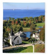 Autumn View On Mackinac Island Fleece Blanket