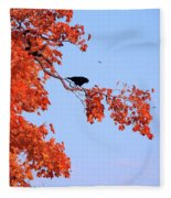 Autumn View Through Red Leaves Fleece Blanket