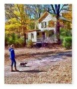 Autumn - Walking The Dog Fleece Blanket