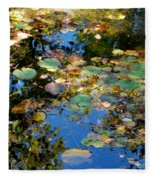 Autumn Water Lily Reflections  Fleece Blanket