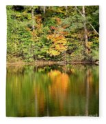 Autumn Watercolor Reflections Fleece Blanket