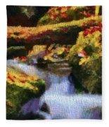 Autumn Waterfall Canvas Fleece Blanket