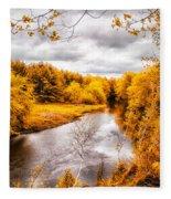 Autumn White Mountains Maine Fleece Blanket