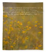 Autumn Wildflowers W Quote Fleece Blanket