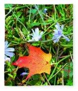 Autumns First Leaf Fleece Blanket