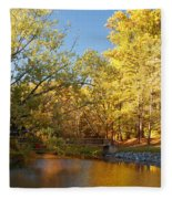Autumn's Golden Pond Fleece Blanket