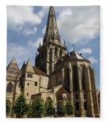 Autun Cathedral View Burgundy Fleece Blanket