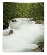 Avalanche Creek In Spring Run Off Fleece Blanket
