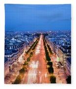 Avenue Des Champs Elysees In Paris Fleece Blanket