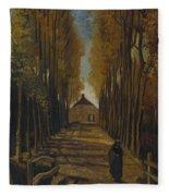 Avenue Of Poplars In Autumn Fleece Blanket