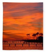Awesome Fiery Sunset On Sound With Cirrus Clouds And Pines Fleece Blanket
