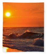 Awesome Red Sunrise Colors On Navarre Beach With Shore Waves Fleece Blanket