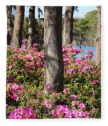 Azalea At The Lake Fleece Blanket