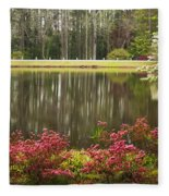 Azaleas And Reflection Pond Fleece Blanket