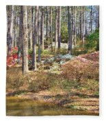 Azaleas By The Pond's Edge Fleece Blanket