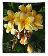 Aztec Gold Plumeria Fleece Blanket
