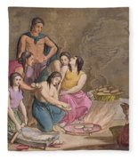 Aztec Women Making Maize Bread, Mexico Fleece Blanket