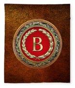 B - Gold Vintage Monogram On Brown Leather Fleece Blanket