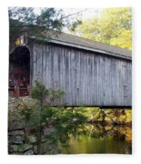 Babbs Covered Bridge In Maine Fleece Blanket