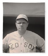 Babe Ruth With The Sox Fleece Blanket