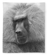 Baboon In Black And White Fleece Blanket