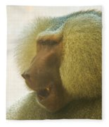 Baboon In The Sun Fleece Blanket