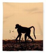 Baboon Sunset Fleece Blanket