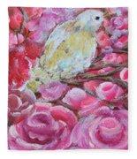 Baby Dove Of Peace Pink Flowers Fleece Blanket