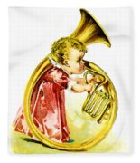 Baby Girl With A French Horn Fleece Blanket