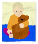 Baby Holding Teddy Bear Fleece Blanket