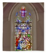 Baby Jesus Stained Glass Window Fleece Blanket