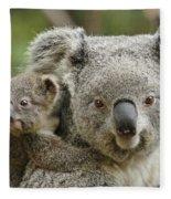 Baby Koala With Mom Fleece Blanket